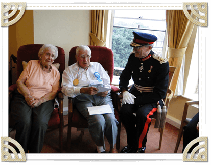 HM Lord Lieutenant of East Sussex with Mr Holdstock for his 100th birthday